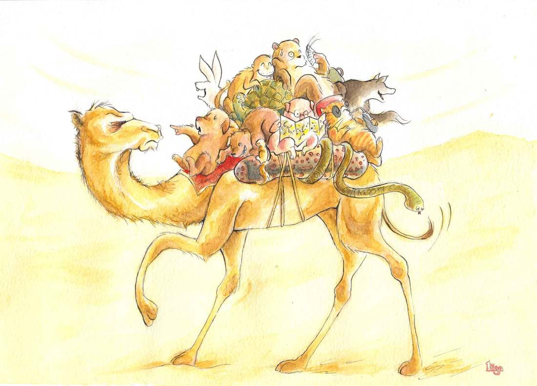 Tourist Animals on a Camel Ride in the Desert. Fun watercolour animal illustration by Divya George.