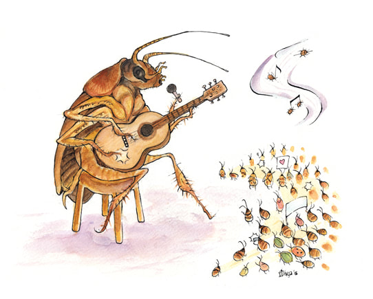 A Cockroach singing. Illustration by Divya George.