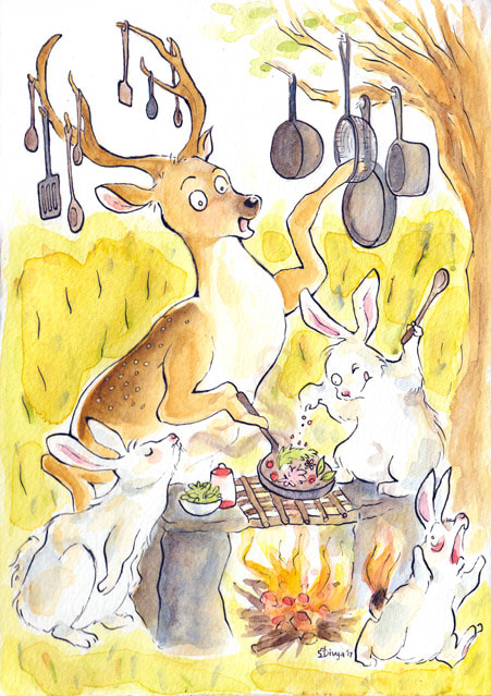 A deer and rabbits are cooking outdoors. One rabbit has burnt its tail. Watercolour illustration by Divya George.