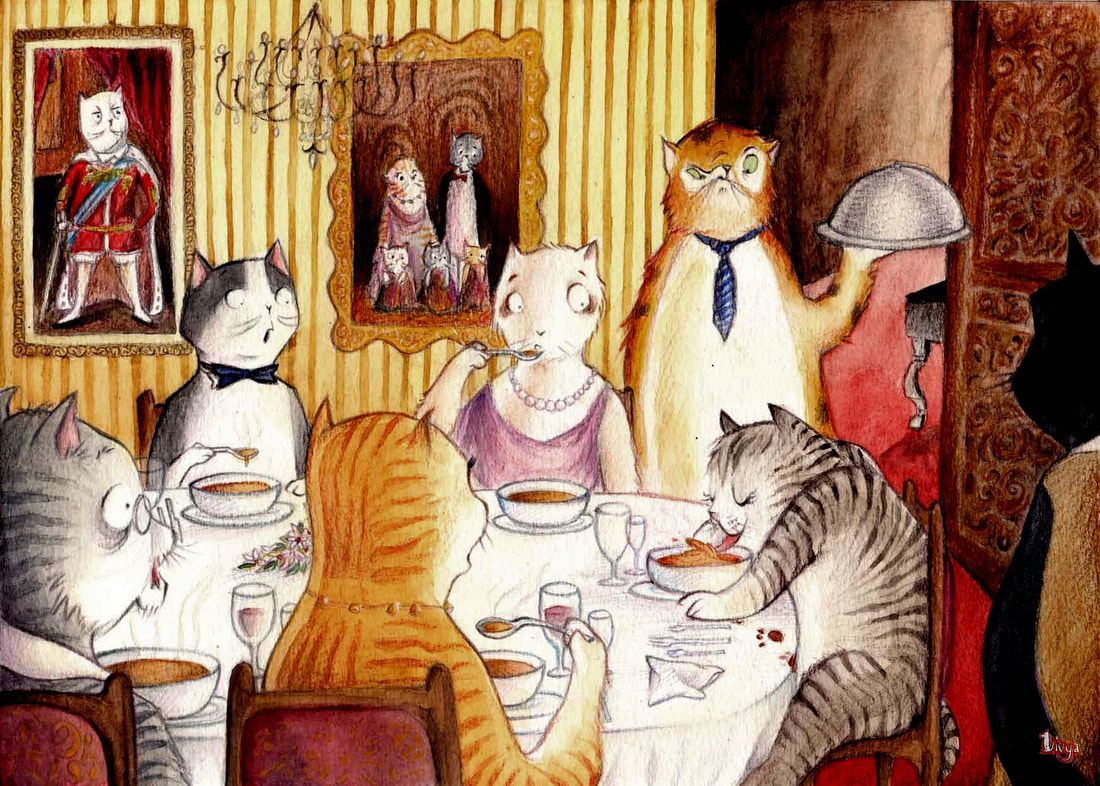 A common cat at a posh dinner where everyone's appalled at his table manners. Fun watercolour animal illustration by Divya George.