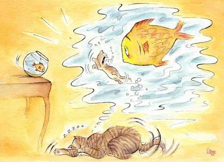 Cat has a nightmare about the fish. Fun watercolour  animal illustration by Divya George.