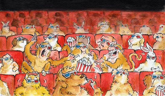 A couple of annoying monkeys at a 3D movie disturbing other animals. Watercolour illustration by Divya George.