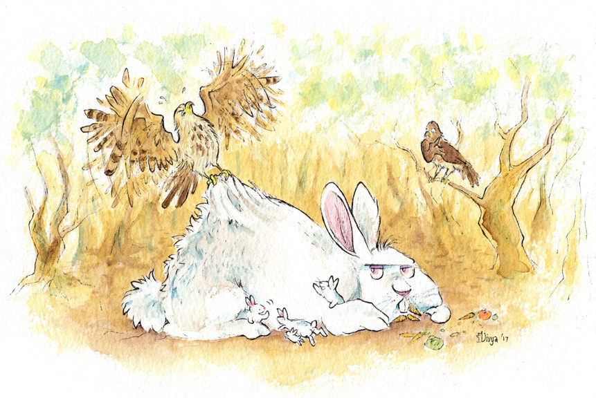 A hawk struggles to lift up a giant rabbit. Watercolour illustration by Divya George.