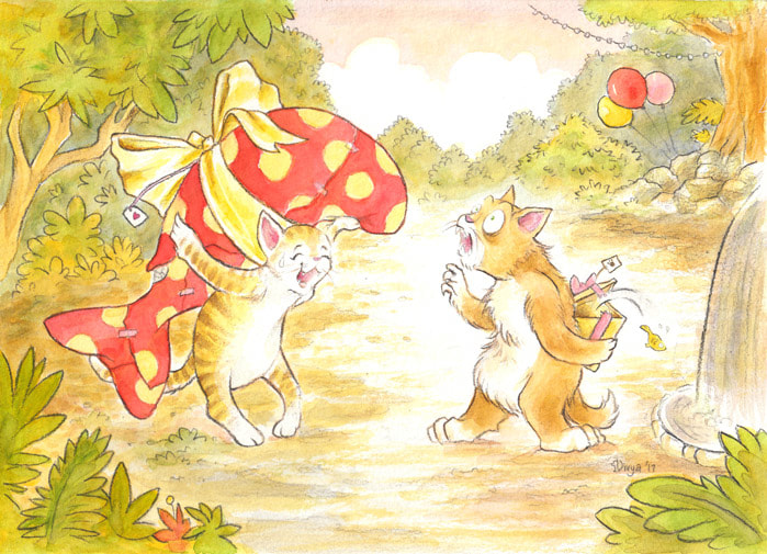 A cat holds a huge fish-shaped present at the party while the other is embarrassed at his tiny fish present. His fish escapes. Watercolour illustration by Divya George.