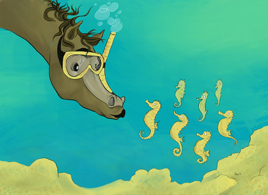 A scuba diving horse from land meets the horses of the sea. Digital illustration by Divya George.