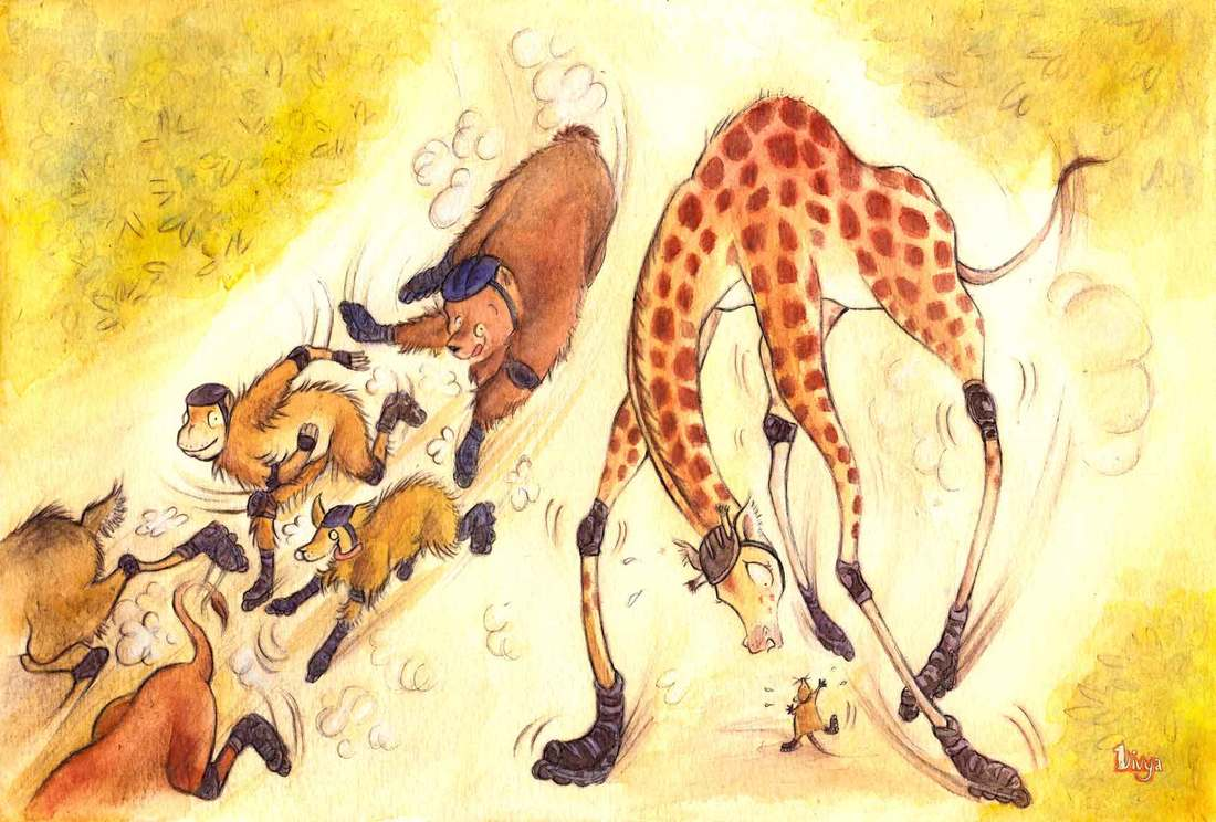 Giraffe has difficulty rollerblading like the other animals. Fun watercolour animal illustration by Divya George.