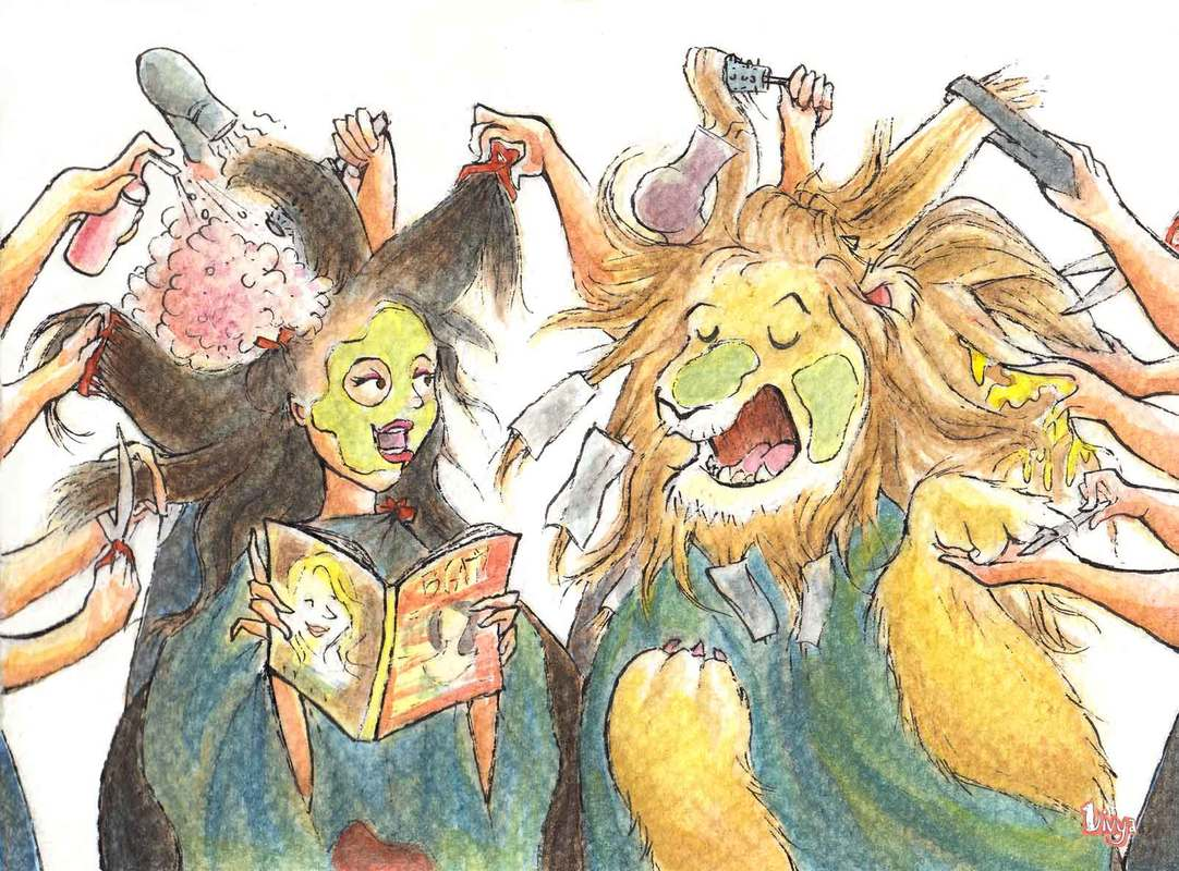 A lion being groomed at the salon talking to a woman. Fun Animal Watercolour illustration by Divya George.