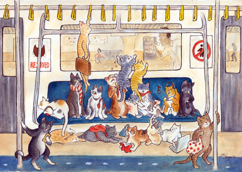 Cats travelling by metro rail. Fun animal illustration by Divya George