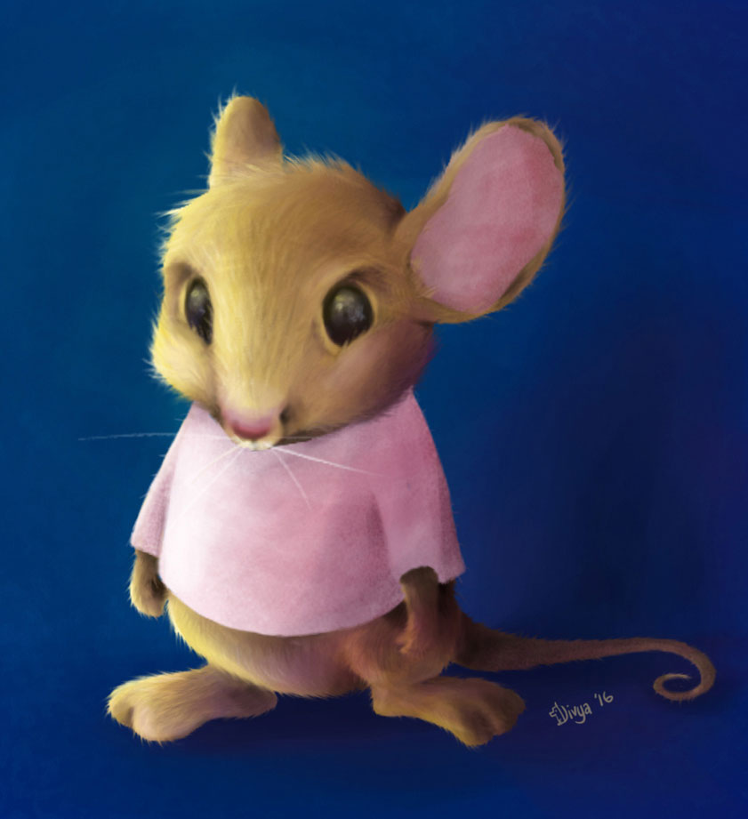 A mouse character. Digital animal art by Divya George.