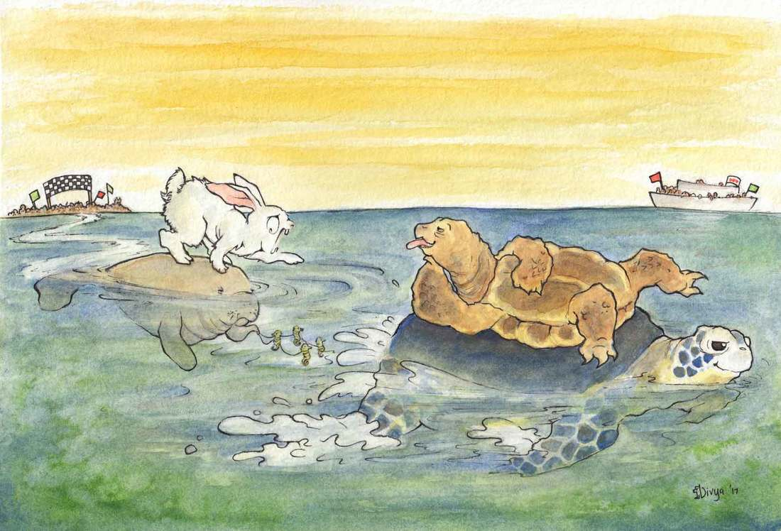 Hare and Tortoise racing each other on the ocean. Tortoise is riding on a turtle and winning the race but the hare is riding a very slow manatee being pulled by seahorses. Watercolour illustration by Divya George.