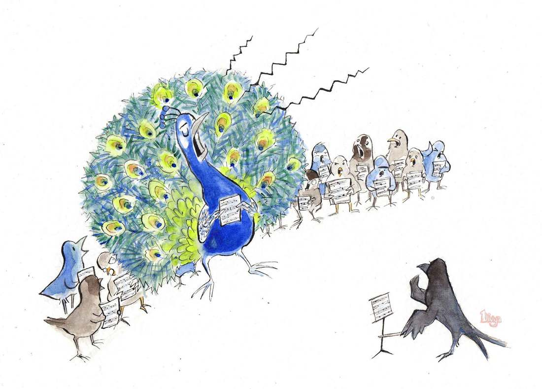 Peacock is out of tune and overshadowing a choir full of birds. Fun bird animal illustration by Divya George. Watercolour.