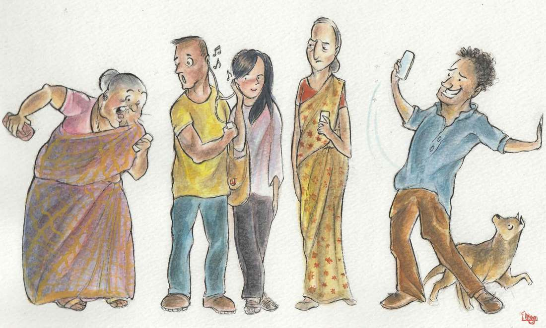 Various People on their Phones. Character illustration. Watercolour.