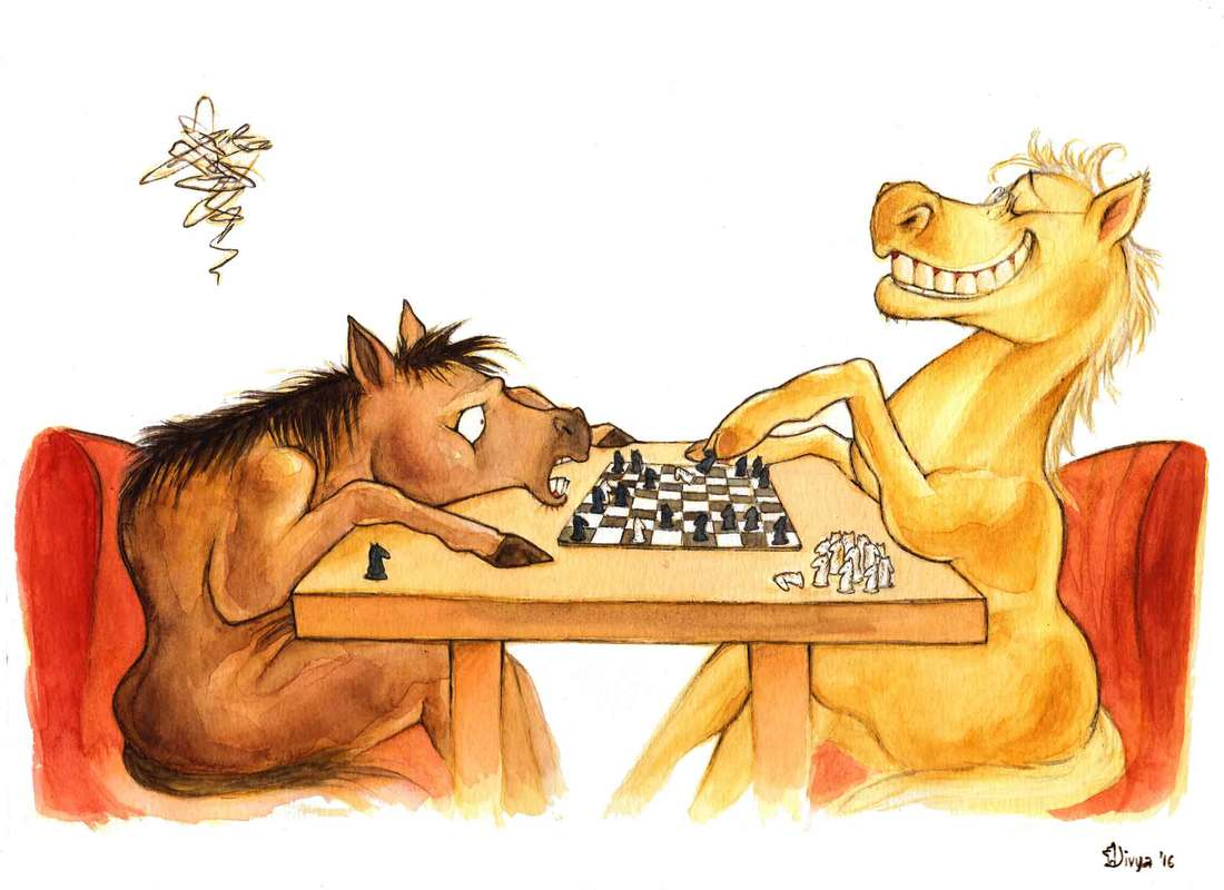 Two horses are playing chess with knight pieces and one is losing very badly. Fun animal illustration by Divya George.