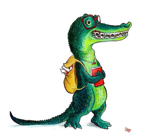 A gawky geeky alligator with braces. Fun watercolour animal illustration by Divya George.