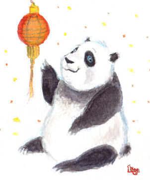 Panda with Chinese Lantern. Watercolour Illustration.