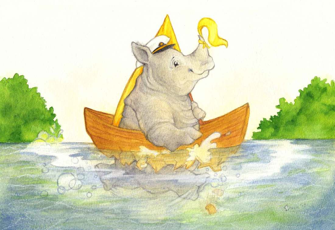 A Rhino paddles through the water in its broken boat. Fun animal illustration by Divya George.