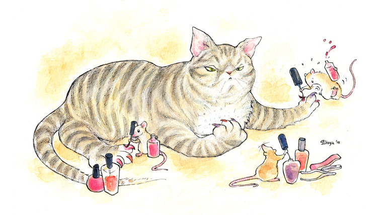 Mice painting a cat's claws. Watercolour illustration by Divya George.