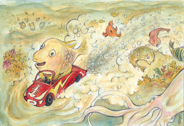 A fish zooms in his car underwater to the shock of other sea creatures. Watercolour illustration by Divya George.