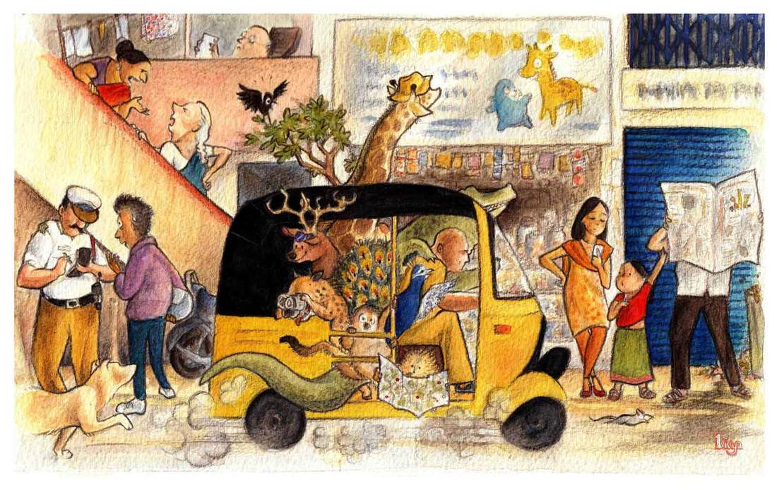 Wild animals are touring a busy Indian city in an auto. Fun watercolour animal illustration by Divya George.