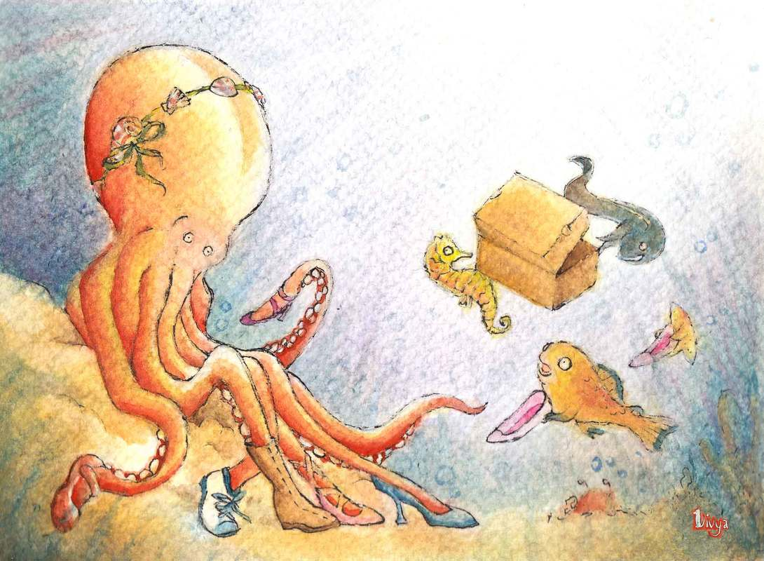 An octopus tries on shoes. Fun Animal Illustration by Divya George.