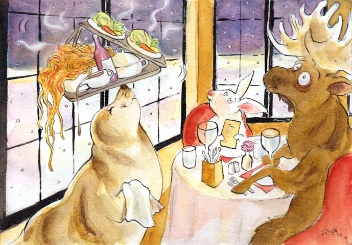 A Moose and a Rabbit watch a Waiter Seal balancing their food on its nose. Watercolour illustration by Divya George.