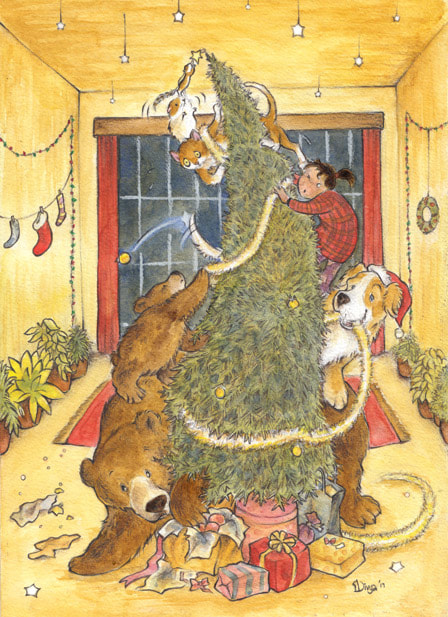 Bears, a dog, a girl, a cat, a hamster and squirrel decorate a tall Xmas tree. Watercolor Christmas Illustration by Divya George.