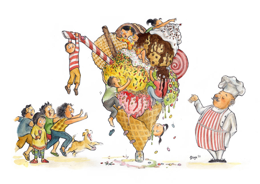Children and a dog going crazy over a gigantic ice cream cone. Watercolour illustration by Divya George.