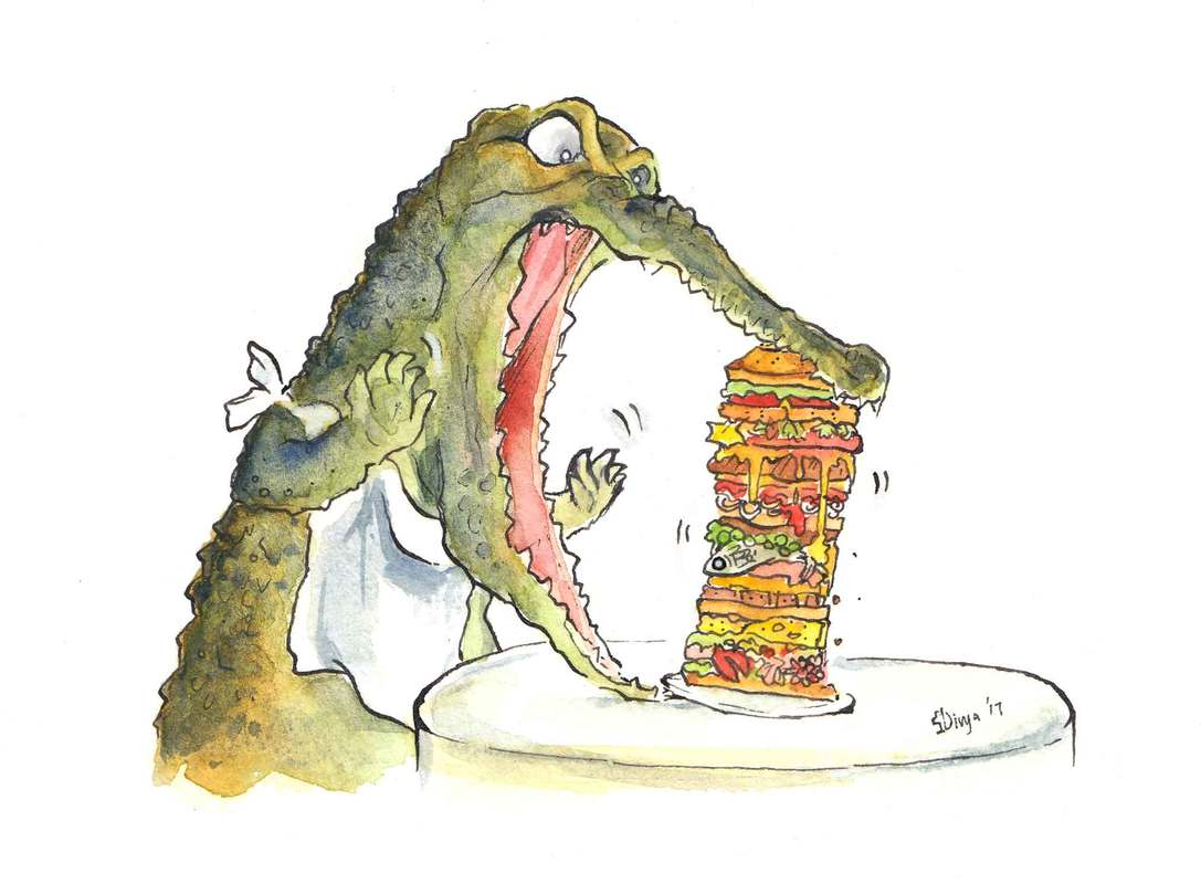 A hungry angry croc can't get his jaws around this huge sandwich! Watercolour illustration by Divya George.