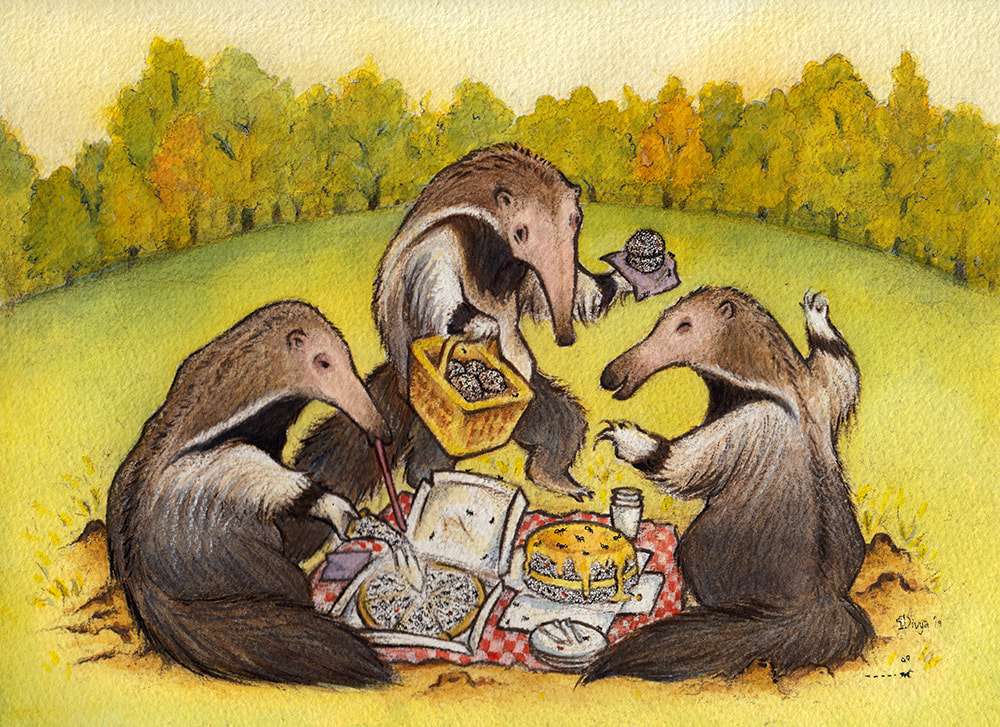 Anteaters feast on ants at a picnic