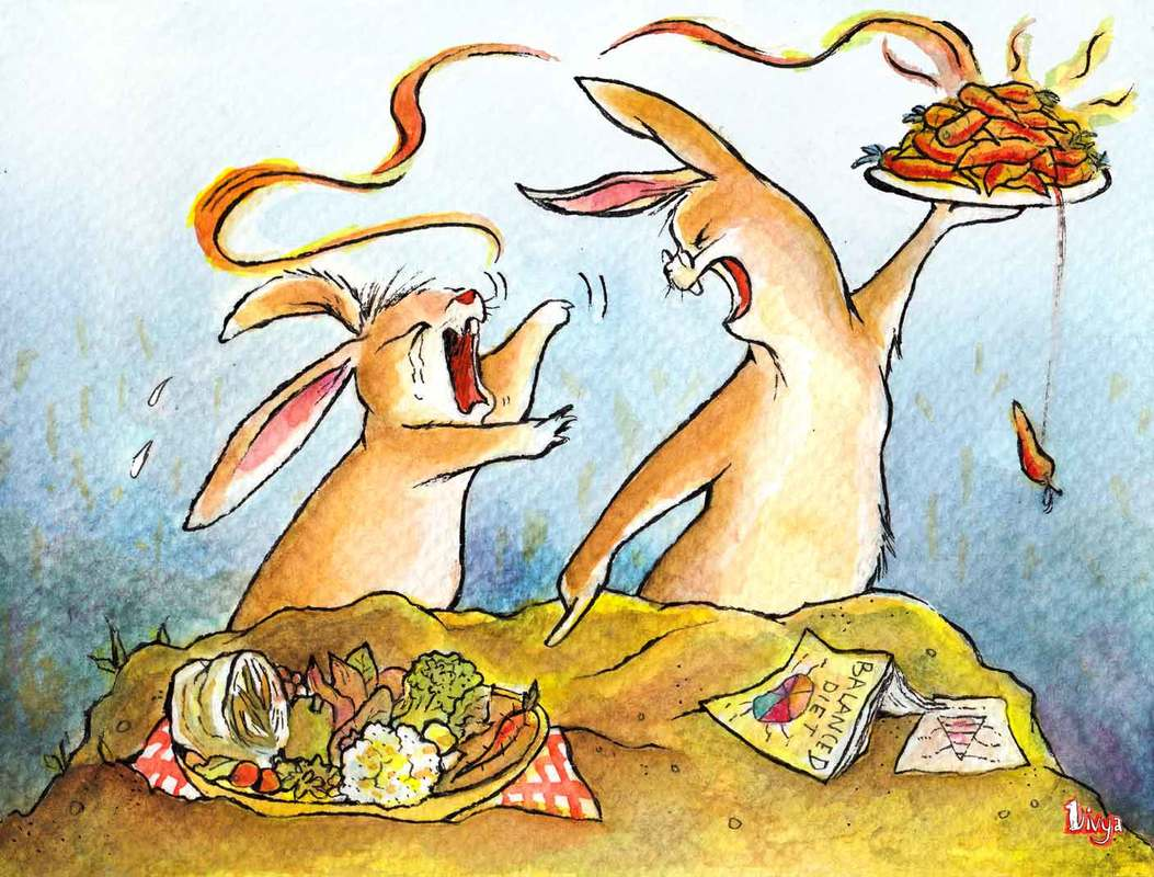 Bunny rabbit being told to eat a balanced diet instead of just carrots. Fun animal illustration in watercolour by Divya George.