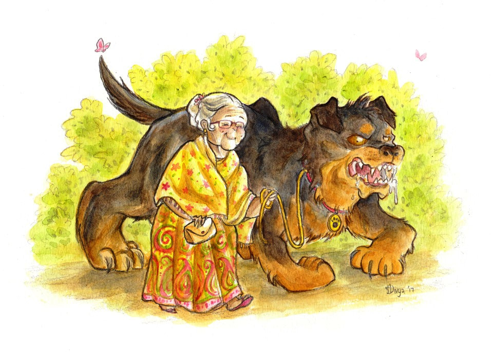 A Sweet Old Lady walking her large Ferocious Dog. Watercolour illustration by Divya George.