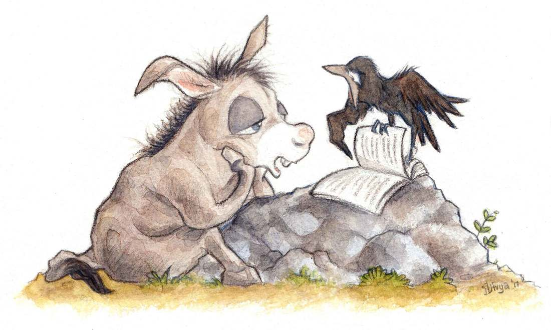 Crow tries to teach donkey but donkey finds it boring. Watercolour illustration by Divya George.