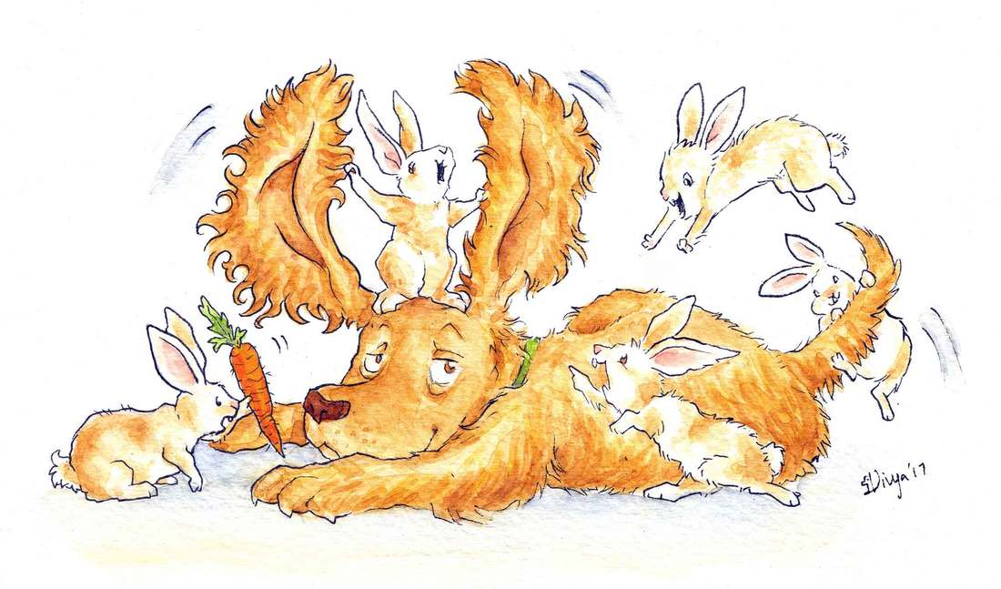 Some bunny rabbits play around with a dog because they think he looks like them with his long ears. Watercolour illustration by Divya George.