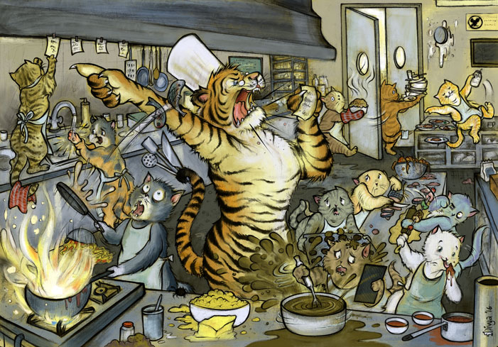 An angry tiger chef orders his cat cooks around in the kitchen while they make a mess of things. Digital illustration by Divya George.