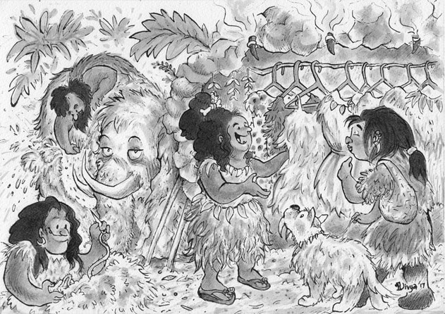 Cavepeople making clothes and selling in a shop. Ink illustration by Divya George.