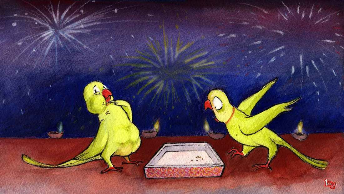 A parrot seems to have eaten all the diwali sweets. Fun watercolour diwali illustration by Divya George.