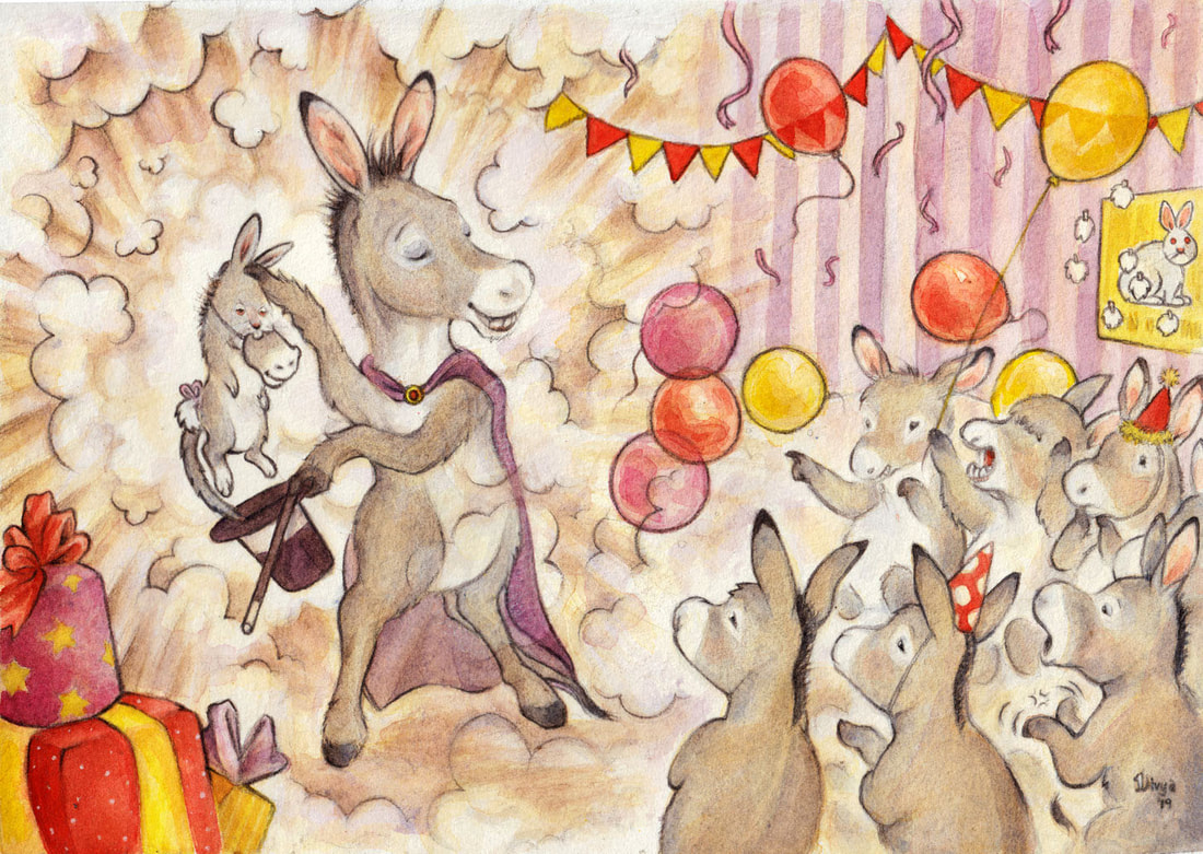 A donkey pulls a rabbit that looks like a donkey out of a hat at a children's party. Fun animal watercolour illustration by Divya George.