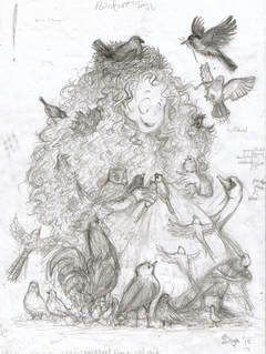 Pencil sketch of Birdwoman illustration