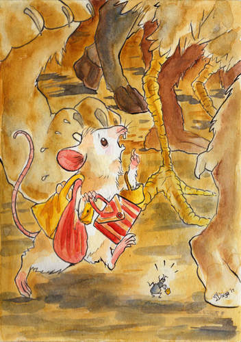 A mouse in a rush about to step on an insect and about to be stepped on himself. Watercolour illustration by Divya George.