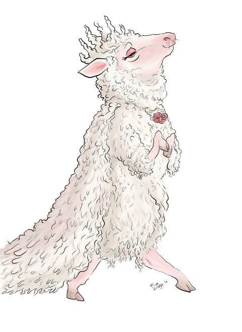 Digital illustration of a sheep with a crown of wool by Divya George.