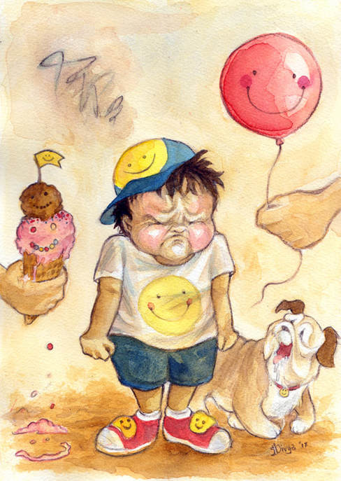 A young boy is frowning and upset though there are are smiles around him. Watercolour illustration by Divya George.