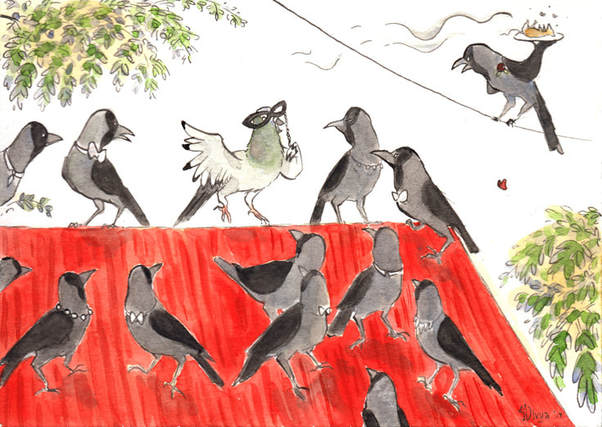 A pigeon tries to mask itself and intrude onto a party of crows. Illustration by Divya George.