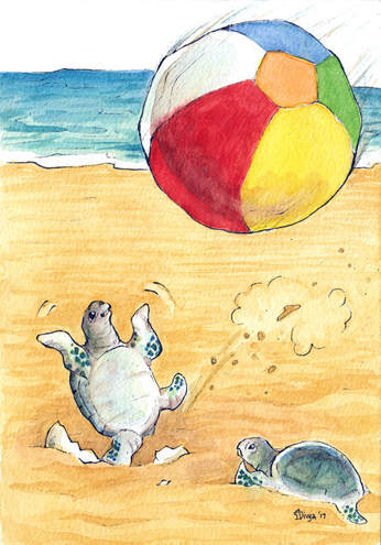 A newly hatched baby turtle tries to play with a huge beachball at the beach. Watercolour illustration by Divya George.