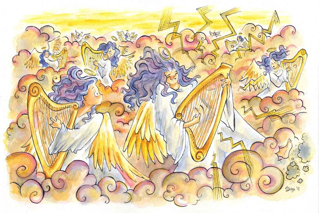 Angels in heaven playing harps are in shock when one of them turns a rocker. Watercolour illustration by Divya George.