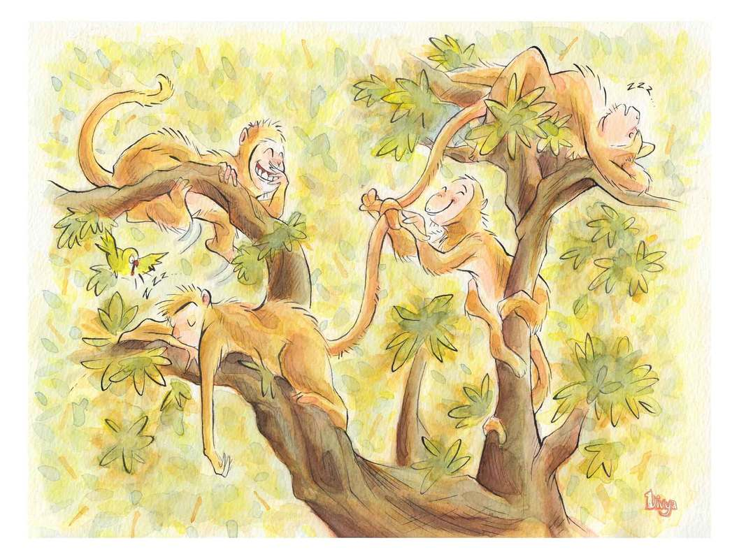 Monkeys are playing a trick on their sleeping companions. Fun Watercolour Animal illustration by Divya George.