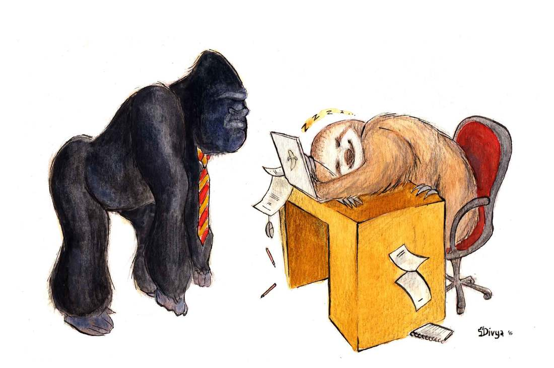 Angry ape and sloth slacking off. Fun animal illustration by Divya George.