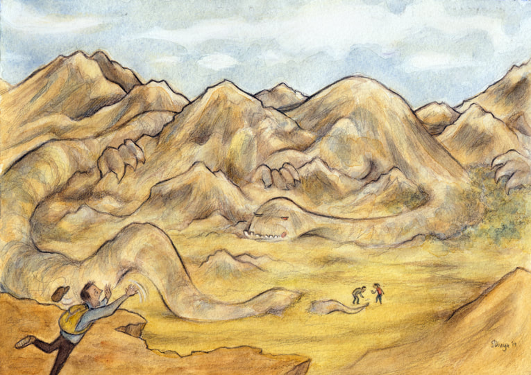 A mountain monster camouflaged amongst the mountains. Watercolour illustration by Divya George.
