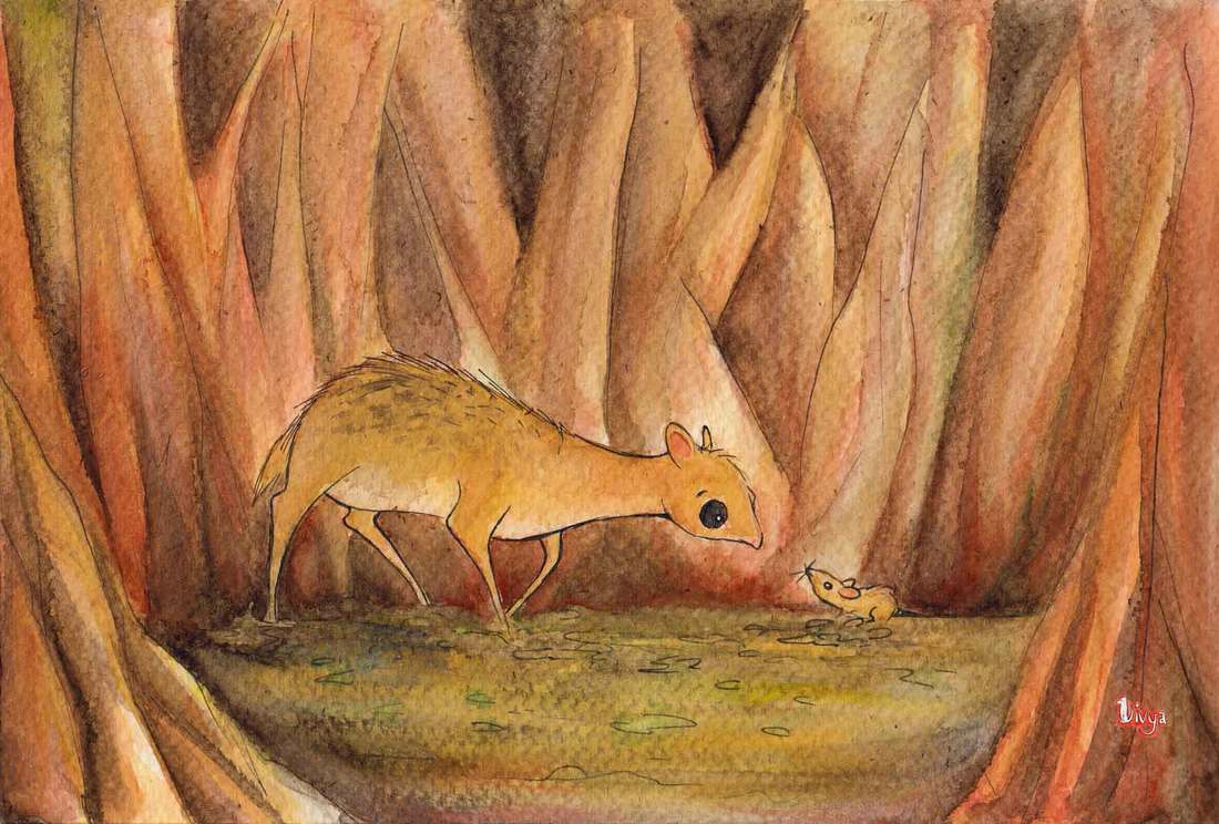 A mouse and a mouse deer. Watercolour animal illustration by Divya George.