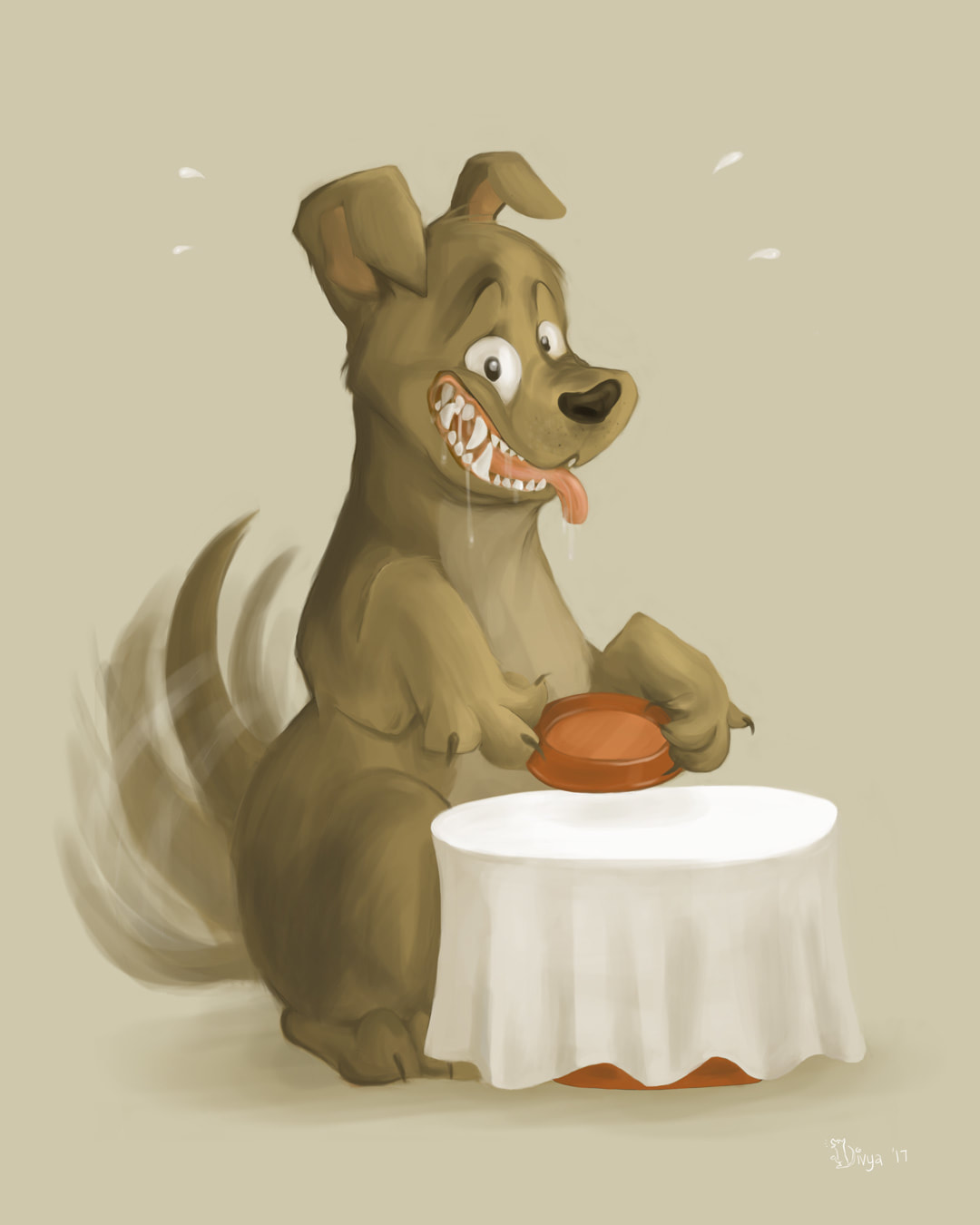A Dog holding out its bowl salivating in a Pavlovian Response to meal time. Digital illustration by Divya George.