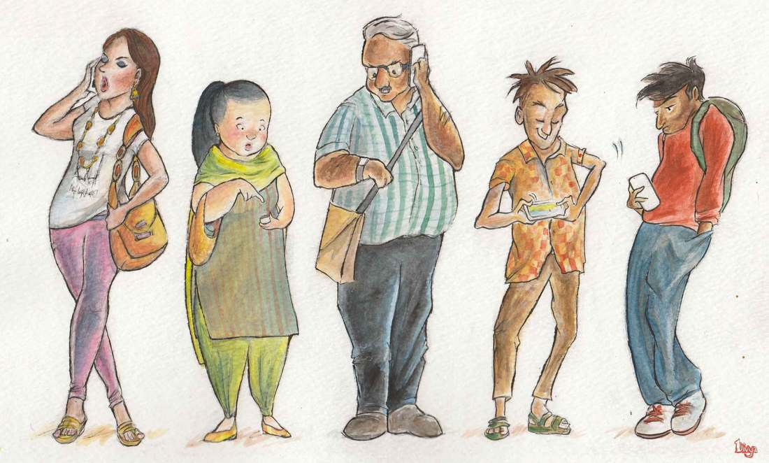People on their Phones. Watercolour Illustration.